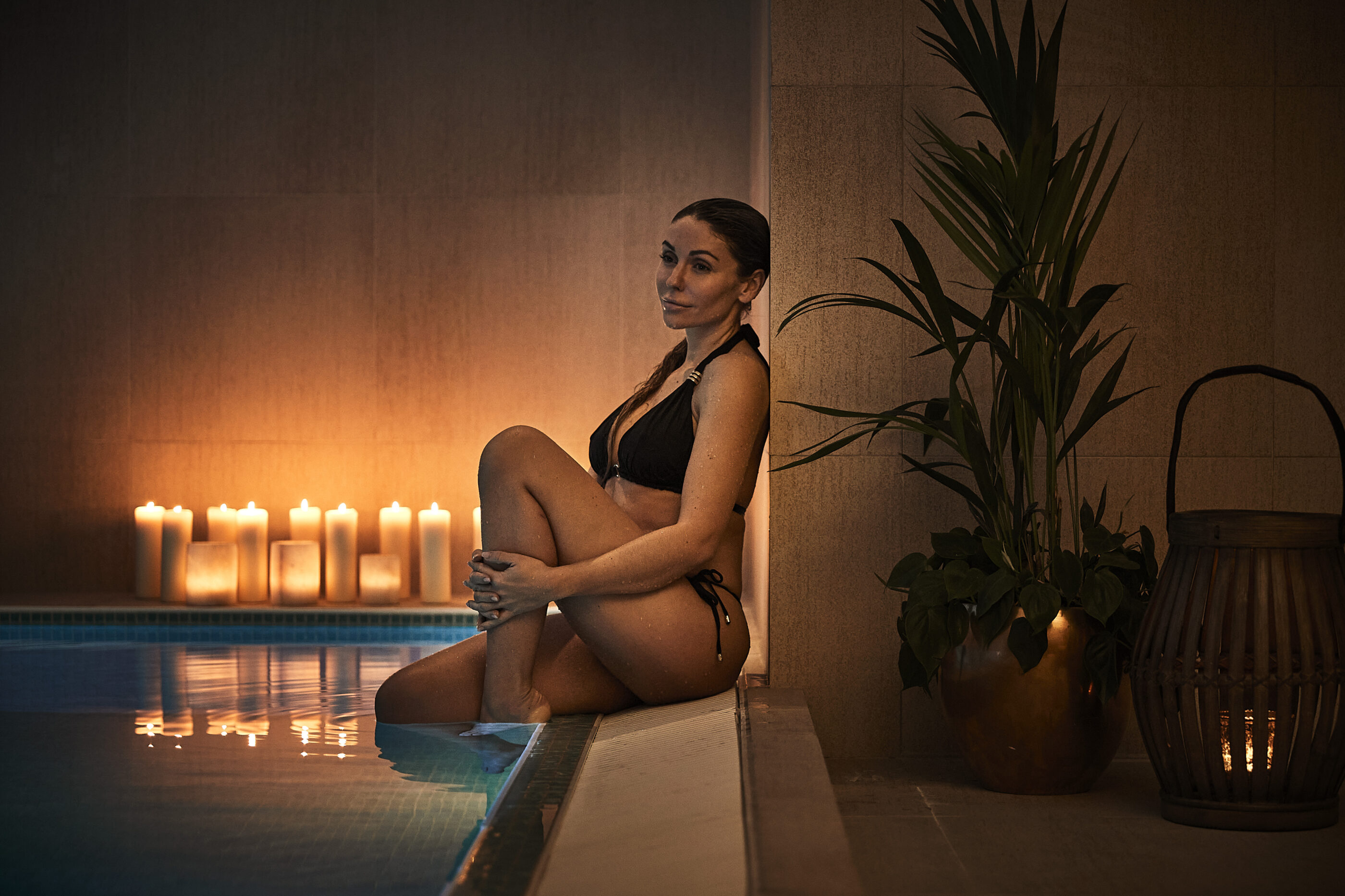Woman is relaxing in spa